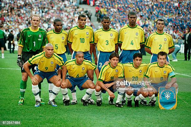 The Brazil team lines up prior to the 1998 FIFA World Cup final against France France won 30   Location Saint Denis France