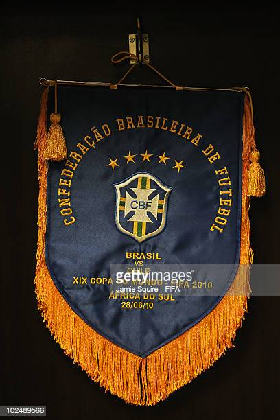 The Brazil team pennant ahead of the 2010 FIFA World Cup South Africa Round of Sixteen match between Brazil and Chile at Ellis Park Stadium on June...
