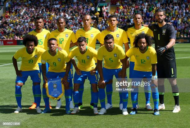 The Brazil team pose for a team photo prior to the International Friendly match between Croatia and Brazil at Anfield on June 3 2018 in Liverpool...