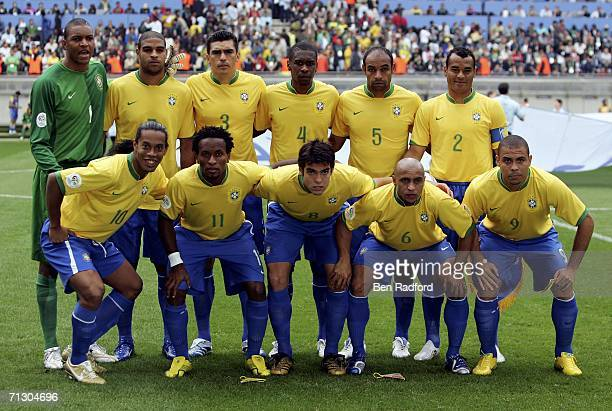 The Brazil team pose for the cameras prior to kickoff during the FIFA World Cup Germany 2006 Round of 16 match between Brazil and Ghana at the...