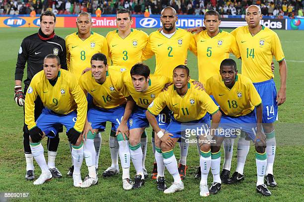 The Brazil team poses during the 2009 Confederations Cup semifinal match between South Africa and Brazil at Ellis Park on June 25 2009 in...
