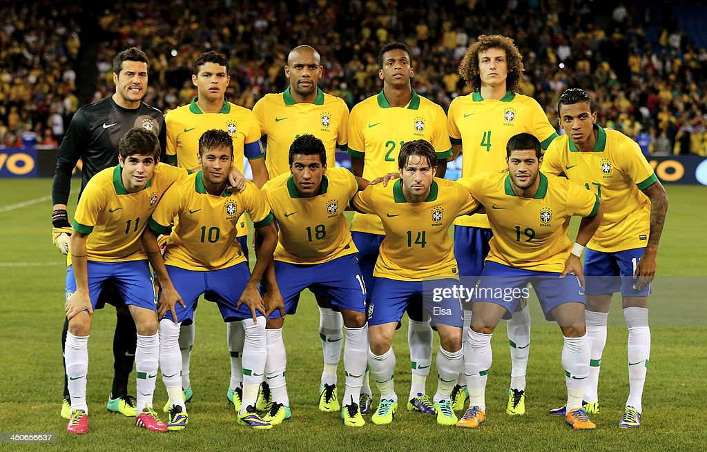 The Brazil team poses for a picture before the match against Chile during a friendly match at Rogers Centre on November 19, 2013 in Toronto, Canada.