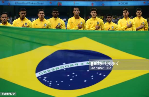 The Brazil team sing their natioal anthem during the FIFA U17 World Cup India 2017 group D match between Brazil and Spain at Jawaharlal Nehru...