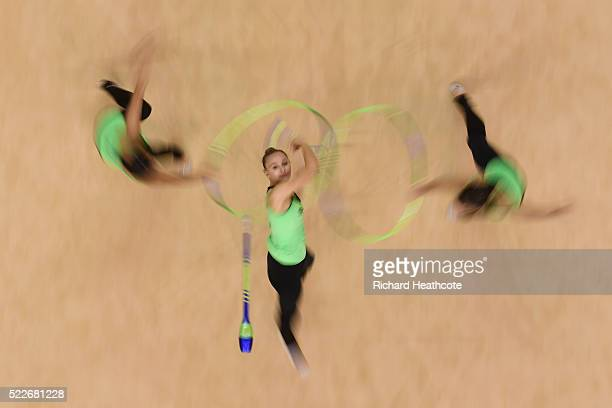The Brazil team take part in an open training session for the rhythmic gymnastics test event at the Rio Olympic Arena on April 20 2016 in Rio de...