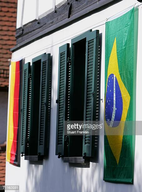 The Brazilain and German flags are displayed on the streets in the village of Falkenstein whiich is the base for the Brazilian National Football Team...