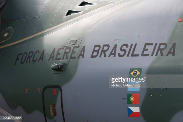The Brazilian Air Force's Embraer KC390 at the Farnborough Airshow on 16th July 2018 in Farnborough England