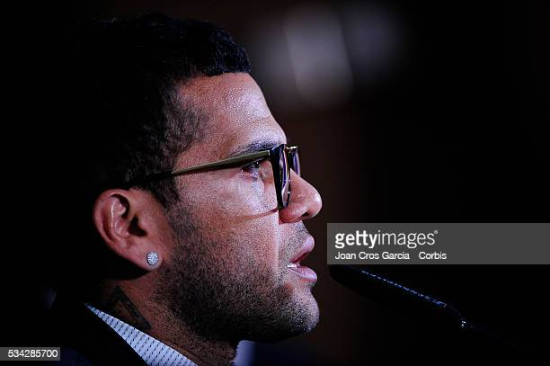 The Brazilian Dani Alves of FCBarcelona attends the pess during his procramation of embasssor of the Hepatitis C launch May 24 2016 in Barcelona Spain