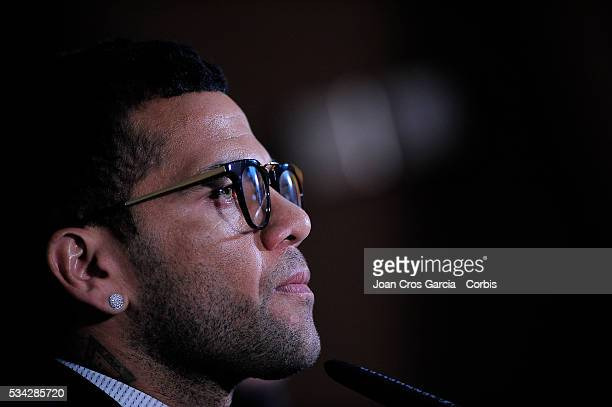 The Brazilian Dani Alves, of F.C.Barcelona, attends the pess during his procramation of embasssor of the Hepatitis C launch , May 24, 2016 in...