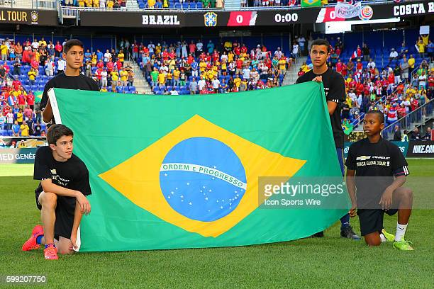 The Brazilian Flag on the field prior to the game between the Brazil and the Costa Rica played at Red Bull Arena in HarrisonNJ Brazil defeats Costa...