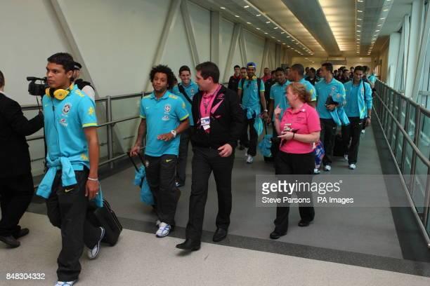 The Brazilian football team at Heathrow Airport