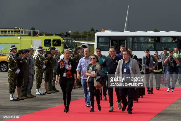The Brazilian football team Chapecoense arrives at the airport in Rionegro, near Medellin, Colombia, on May 8 two days before their final match...