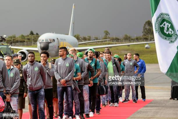 The Brazilian football team Chapecoense arrives by plane to the airport in Rionegro, near Medellin, Colombia, on May 8 two days before their final...