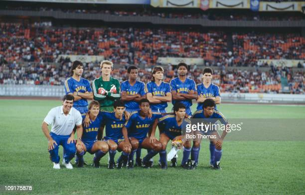 The Brazilian football team pose before the semifinal match against West Germany at the 1988 Seoul Olympics football tournament 27th September 1988...