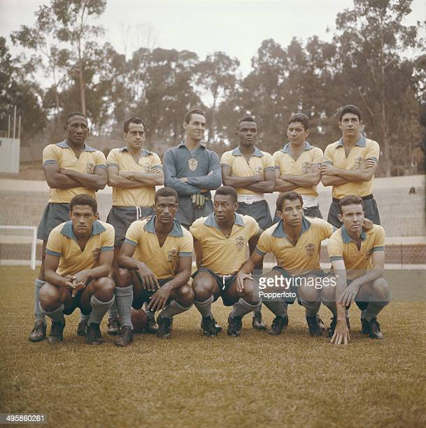 The Brazilian football team pose together before the World Cup tournament in 1962 Back row Djalma Santos Zito Gilmar Zozimo Nilton Santos and Mauro...