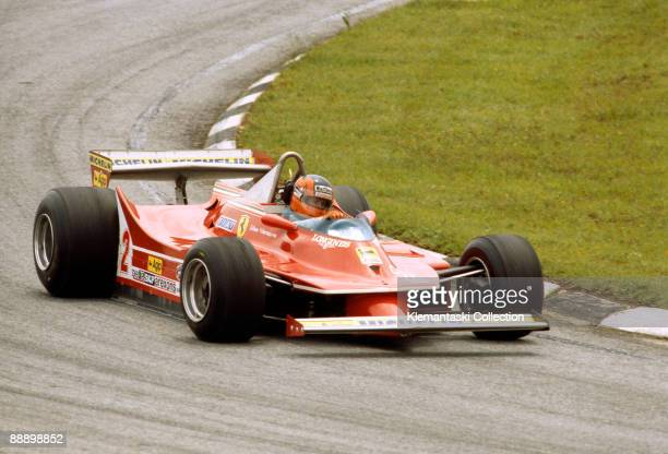 The Brazilian Grand Prix Interlagos January 27 1980 Gilles Villeneuve with the difficult Ferrari 312T/5 He took an early lead but had to stop for...