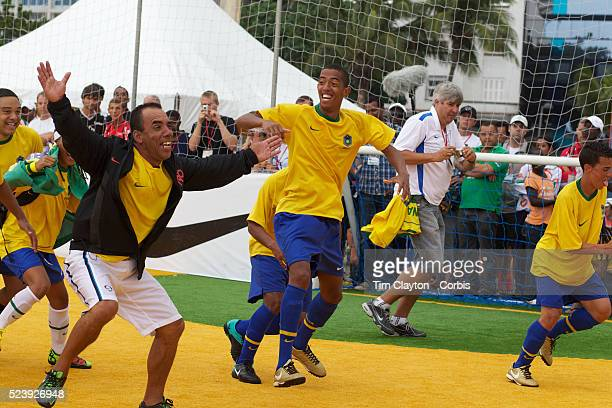 The Brazilian Men's team celebrate winning the Men's Homeless World Cup Final defeating Chile 60 Sixtyfour national homeless teams took part in the...