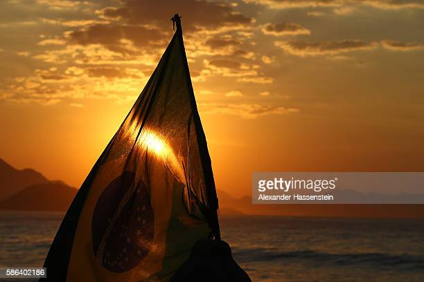 The Brazilian national flag is seen before the Men's Road Race on Day 1 of the Rio 2016 Olympic Games at the Fort Copacabana on August 6 2016 in Rio...