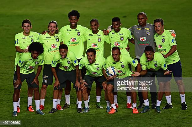 The Brazilian national football team poses during a training session in Salvador Brazil on November 16 on the eve of a FIFA World Cup Russia 2018...