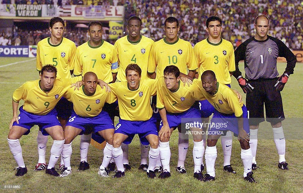 The Brazilian national soccer team poses before it : News Photo
