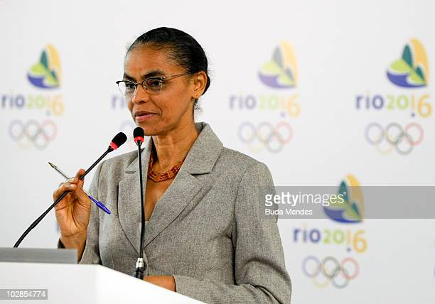 The Brazilian presidential candidate Marina Silva is received by the President of Brazilian Olympic Committee Carlos Arthur Nuzman as part of her...