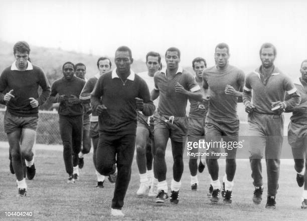 The Brazilian soccer player PELE training with his Brazilian national team for the next World Cup in Mexico