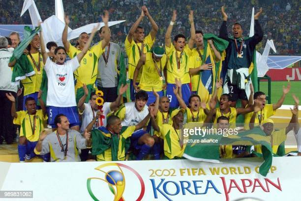 The Brazilian team celebrates their great triumph after the awards ceremony The Brazilian national team wins the final of the 17th World Cup against...