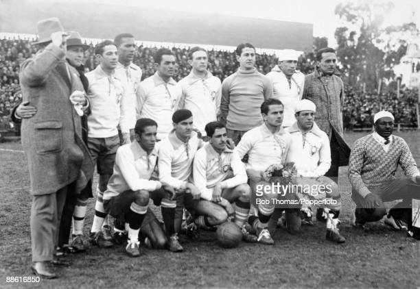 The Brazilian team line up before the FIFA World Cup match between Brazil and Yugoslavia at the Parque Central in Montevideo 14th July 1930...