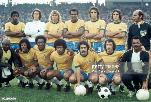The Brazilian team pose for photographers prior to the FIFA World Cup match between Brazil and East Germany at the Niedersachsenstadion Hannover 26th...