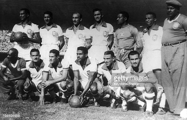 The Brazilian team who beat Mexico on the soccer World Cup in Rio de Janeiro From left to right the players ELY SANTOS AUGUSTO DANILO BARBOSA BIGODE...