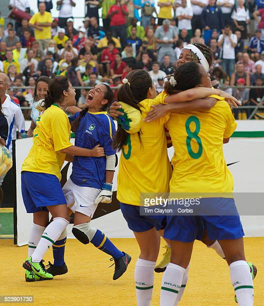 The Brazilian women's team celebrate winning the Women's Homeless Football World Cup Final defeating Mexico 73 Sixtyfour national homeless teams took...