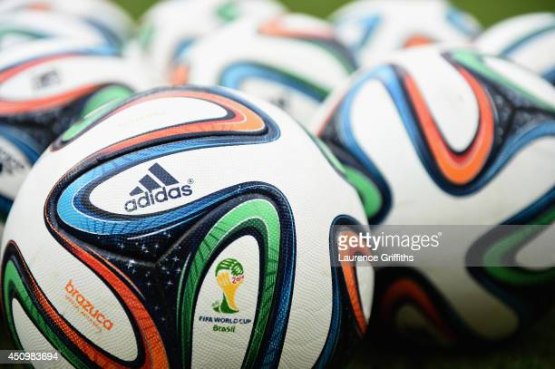 The Brazuca match ball pictured prior to the 2014 FIFA World Cup Brazil Group D match between Italy and Costa Rica at Arena Pernambuco on June 20...