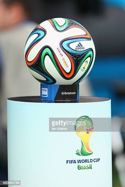 The Brazuca match ball sits on a podium before the 2014 FIFA World Cup Brazil Group E match between France and Honduras at Estadio BeiraRio on June...