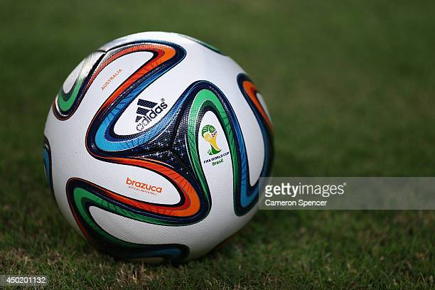 The 'Brazuca' offical match ball is seen during the International Friendly match between Croatia and the Australian Socceroos at Pituacu Stadium on...
