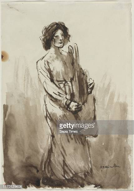 The Bread Carrier fourth quarter 19th century or first quarter 20th century Theophile Alexandre Steinlen Brush and brown ink and wash sheet 363 x 255...