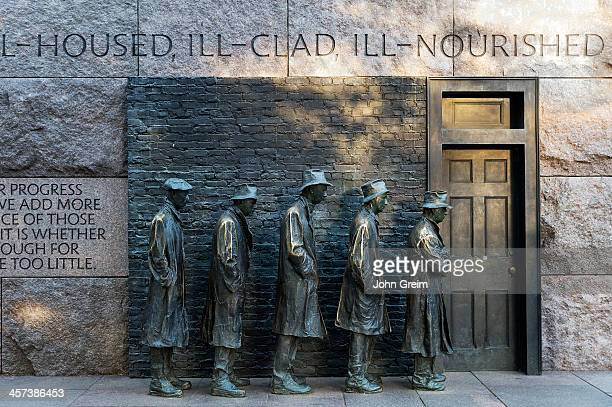 The Bread Line sculpture by George Segal depicting the Great Depression Franklin Delano Roosevelt Memorial at the National Mall