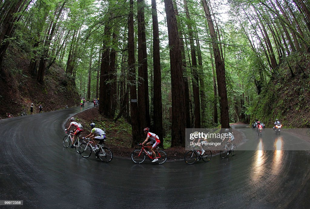 The breakaway climbs Tunitas Creek Road during Stage Three of the 2010 Tour of California from San Francisco to Santa Cruz on May 18, 2010 in San Mateo County, California.