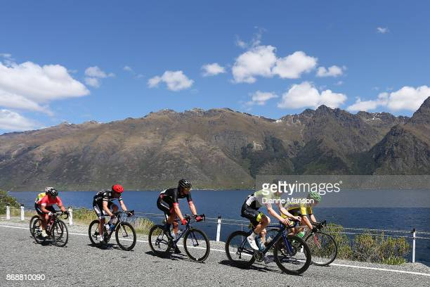 The breakaway group heads towards Frankton during stage 3 from Mossburn to Coronet Peak during the 2017 Tour of Southland on November 1 2017 in...