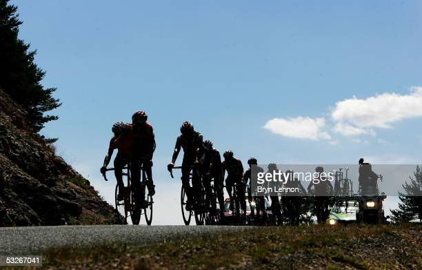 The breakaway group increases their lead as they ride toward the finish of Stage 18 of the 92nd Tour de France between Albi and Mende July 21 2005 in...
