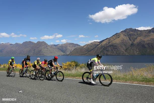 The breakaway group makes their way around the Devils Staircase towards Frankton during stage 3 from Mossburn to Coronet Peak during the 2017 Tour of...