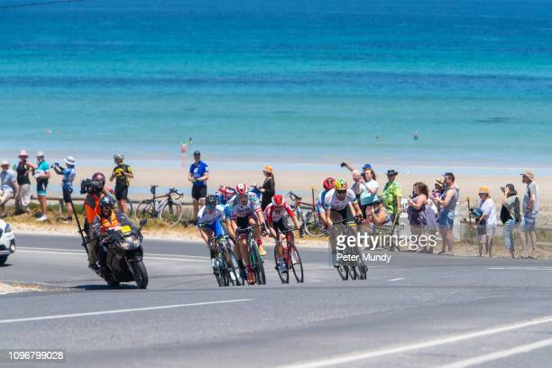 ADELAIDE AUSTRALIA JANUARY 20 The breakaway group of Lukas Pöstlberger of Austria and BORAhansgrohe Danny van Poppel of Netherlands and Team...
