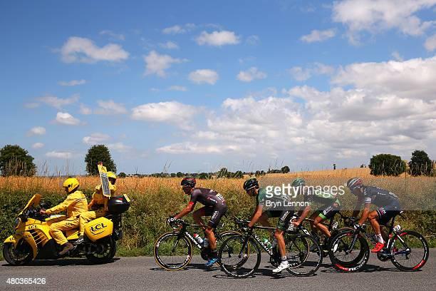 The breakaway group of Nartosz Huzarski of Poland and Bora-Argon 18, Sylvian Chavanel of France and IAM Cycling, Romain Sicard of France and Team...