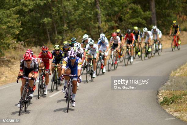 The breakaway group rides through the countryside during stage 19 of the 2017 Le Tour de France a 2225km stage from Embrun to SalondeProvence on July...