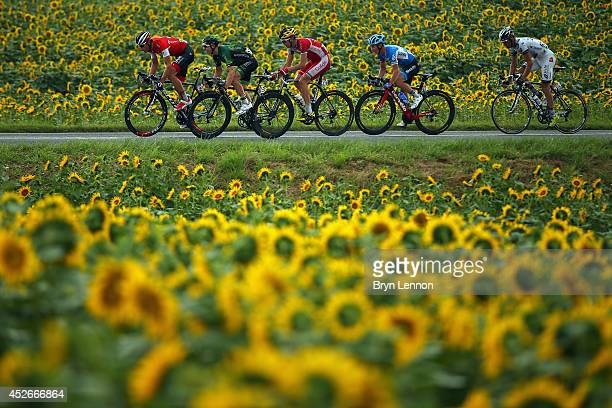 The breakaway in action during the nineteenth stage of the 2014 Tour de France, a 208km stage between Maubourguet Pays du Val d'Adour and Bergerac,...