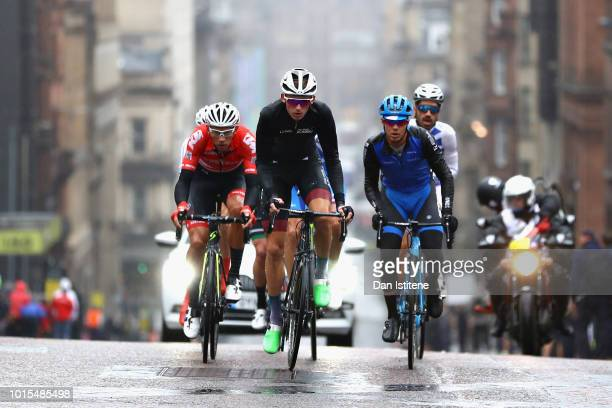 The breakaway leads in the Men's Road Race during the road cycling on Day Eleven of the European Championships Glasgow 2018 at on August 12 2018 in...