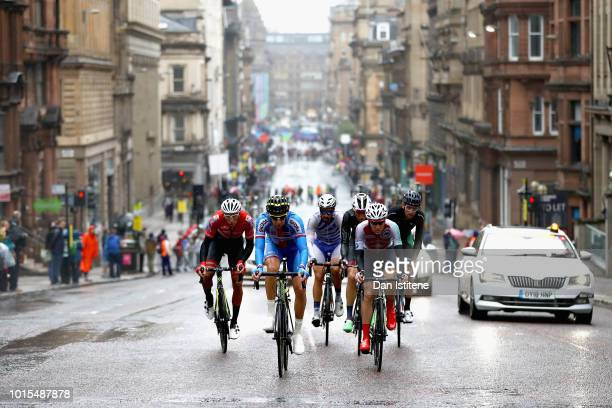 The breakaway leads in the Men's Road Race during the road cycling on Day Eleven of the European Championships Glasgow 2018 at on August 12, 2018 in...