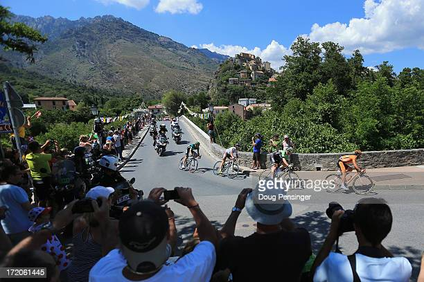 The breakaway makes their way ahead of the peloton during stage two of the 2013 Tour de France a 156KM road stage from Bastia to Ajaccio on June 30...