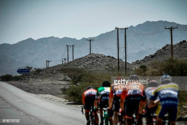 TOPSHOT The breakaway rides during fifth stage of the cycling Tour of Oman between Sama'il and Jabal Al Akhdhar near alFalgain on February 17 2018 /...