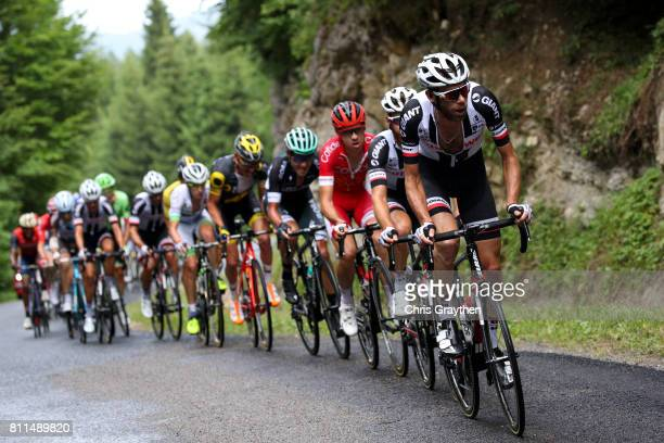 The breakaway rides through the countryside during stage 9 of the 2017 Le Tour de France a 1815km stage from Nantua to Chambéry on July 9 2017 in...