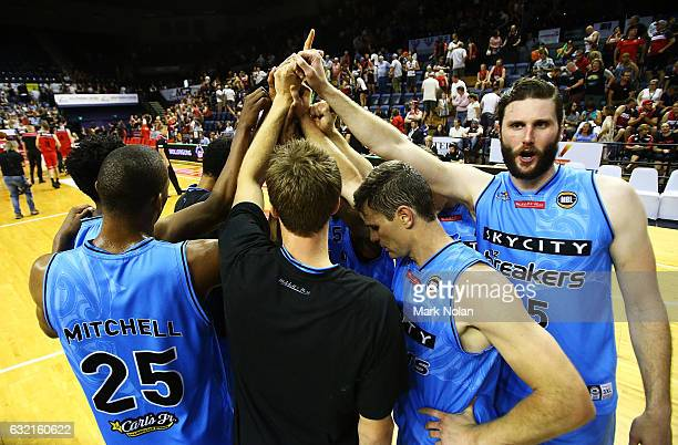The Breakers celebrate victory after the round 16 NBL match between the Illawarra Hawks and the New Zealand Breakers at the Wollongong Entertainment...