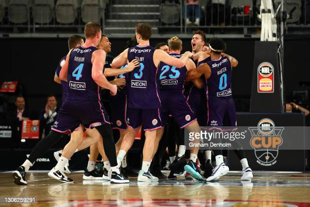 The Breakers celebrate victory in the NBL Cup match between the New Zealand Breakers and the Cairns Taipans at John Cain Arena on March 10 in...